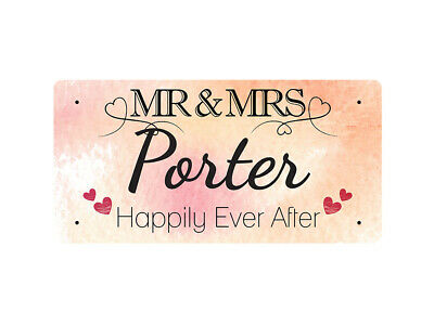 WP_VAL_750 MR & MRS Porter - Happily Ever After - Metal Wall Plate