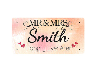 WP_VAL_865 MR & MRS Smith - Happily Ever After - Metal Wall Plate