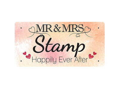 WP_VAL_874 MR & MRS Stamp - Happily Ever After - Metal Wall Plate