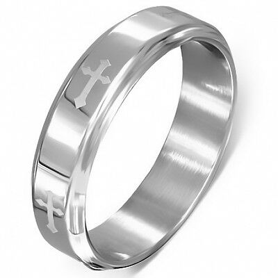 Stainless Steel Medieval Cross Beveled Edge Half Round Band Ring 7    c54