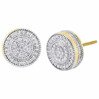 10K Yellow Gold Round Cut Diamond Stud Earrings 10mm Pave 3D Cube Circle 0.75 Ct