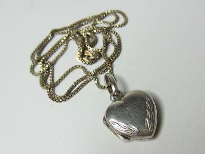 Vintage Sterling Silver Small Heart Photo Locket Necklace