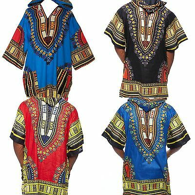 Mens Women African Dashiki Hoodie Ethnic Top W/ Hood Traditional Blouse S M L XL