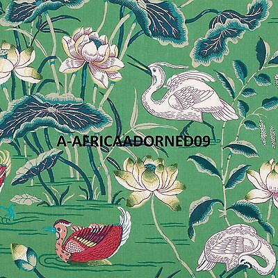 Schumacher Ethnic Chic Lotus Gardens Crane Heron Bird Linen Fabric 5 Yards Jade