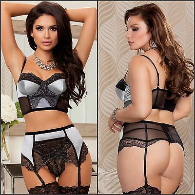 4PC Complete Sexy Women's Burlesque Underwired Bra High Waisted Garter Panty Set