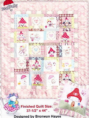 Fairy Garden - pieced, applique, and stitchery cot quilt and cushion PATTERN