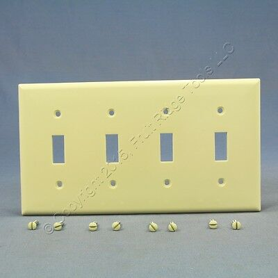Cooper Almond Standard Grade 4Gang Toggle Switch Cover Thermoset Wallplate 2154A