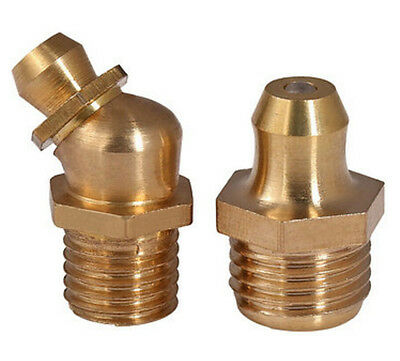 Brass Straight /45-degree Bend Hydraulic Grease Lubricating Fitting Nipple