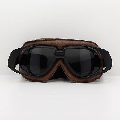 Gray Lens Motorcycle Retro Vintage Aviator Pilot Bikes Racing Goggles Glasses