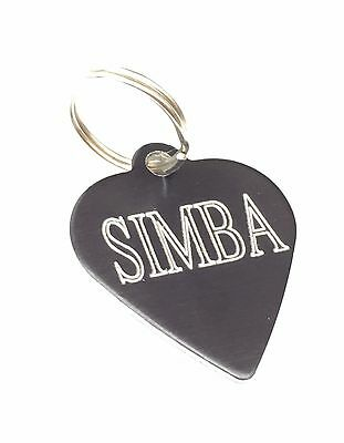 1 x Personalised Engraved Black coloured Heart shaped pet tag