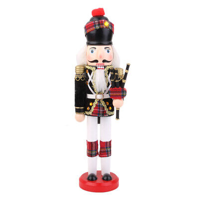 Vintage Wooden Nutcracker Soldier with Bagpipes Plaid Christmas Gift Toy