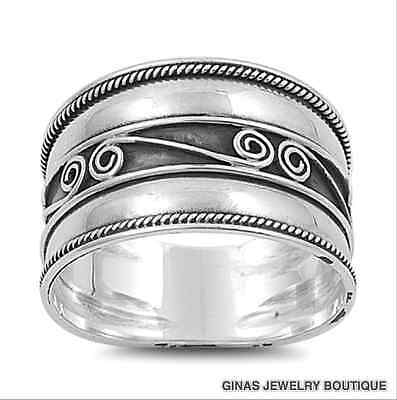 """Beautiful Bali Cigar Band  Ring Silver 11//16 /""""wide HALF SIZES ALSO 5 to 10"""