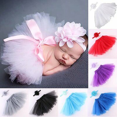 Lovely Baby Newborn Toddler Girls Hairband Tutu Skirt Photo Prop Costume Outfit