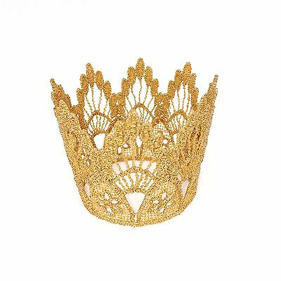 Gold Lace Crown - Tiara - Cake Topper Photo Props for Baby Newborn Infant
