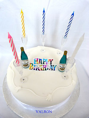 Happy Birthday Champagne Bottle & Glasses Candle Cake Decorating Set