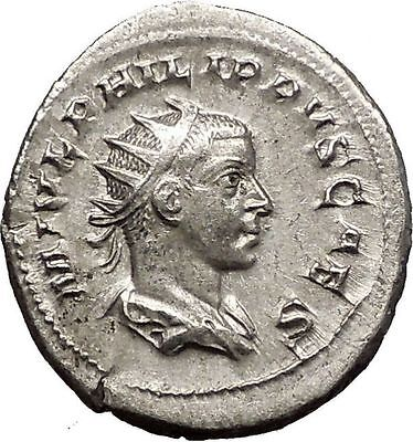 PHILIP II Roman Caesar with globe 246AD Silver Rare Ancient Roman Coin i57491