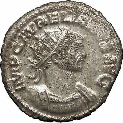 AURELIAN receiving wreath from woman  275AD Rare Ancient Roman Coin i57492