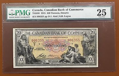 1935 $20 Canadian Bank Of Commerce Toronto Small Note PMG VF25 VF-25 : TCC1