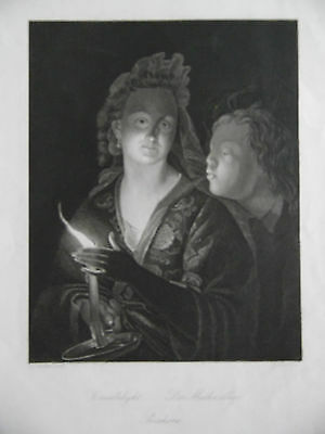 Candlelight Portrait Woman and Boy. Schalken. C19th Antique Engraving