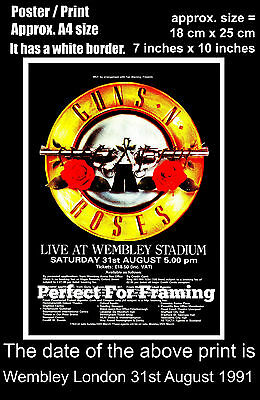 Guns N Roses live concert Wembley London 31st August 1991 A4 size poster print