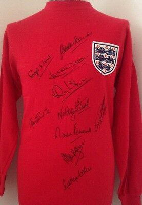 1966 England Shirt Signed By 10 Players, Comes With Letter Of Guarantee