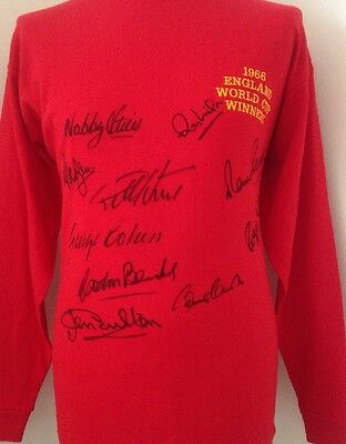 1966 England World Cup Winners Shirt Signed By 10 Players With COA + Guarantee