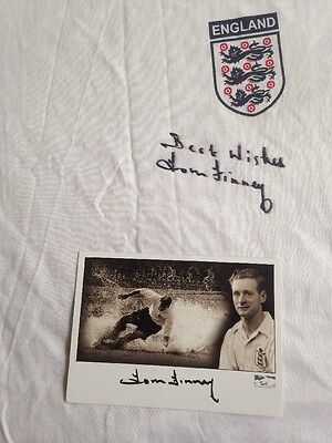 1966 England Shirt + Card Signed By Tom Finney With Guarantee