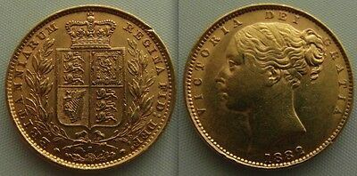 Collectable Gold full Sovereign 1882 coin Queen Victoria. Sydney Mint / Shield