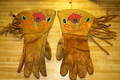 Vintage Antique 1800s - 1900's Native American Beaded Leather Gauntlets Gloves