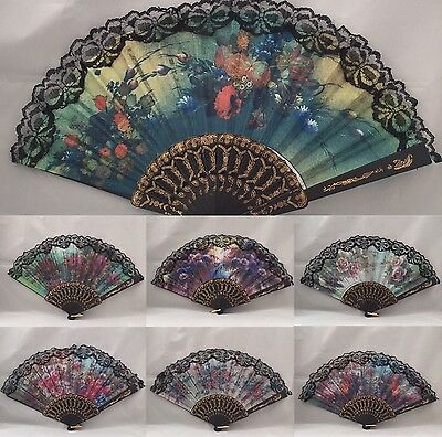 New Spanish Hand Held Foldable Printed Lace Detail Hand Fan Belly Dance Prop
