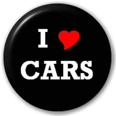 SMALL 25mm I LOVE CARS (HEART) – PIN BUTTON BADGE