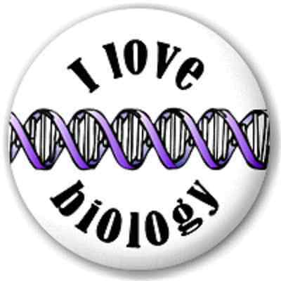 SMALL 25mm I LOVE BIOLOGY – PIN BUTTON BADGE