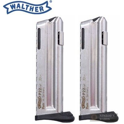 TWO WALTHER P22Q 22LR 10 Round Magazines w/ Finger Rests 512604 FAST SHIP