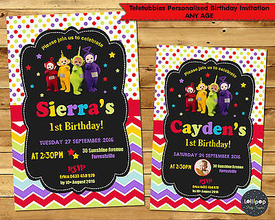 Teletubbies Invitations 1St First Birthday Party Invite Personalised Any Age