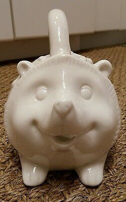 Cracker Barrel WHITE HEDGEHOG WATERING CAN or PLANTER * Really Works!
