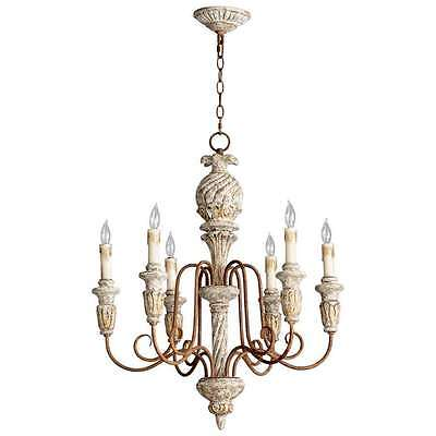 French Country Bateau 6 Light Chandelier Old World Vintage Style Cyan Design
