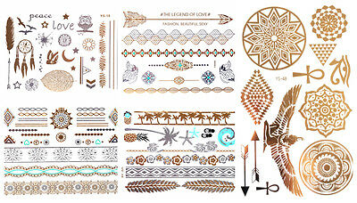 5 x 10 Blätter = 50 Sheets GOLD Flash Tattoos Temporary Tattoo   SONDERPOSTEN