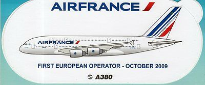 AIRBUS A380 AIR FRANCE 1st IN EUROPE AIRLINE STICKER ~LIMITED EDITION~