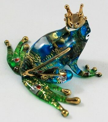 Glass Frog Crown Figurine Animal Hand Blown Amphibian Blue Green Handmade Craft