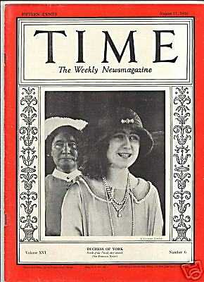 MAGAZINE TIME  Duchess of York  AUGUST 11 1930