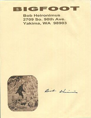 BOB HEIRONIMUS autographed 8x11 piece of personal letterhead    RARE    BIG FOOT