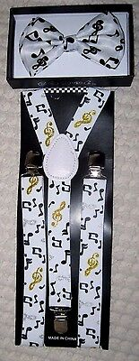 White Black Musical Notes Adjustable Bow Tie+ Adjustable Music Suspenders Combo