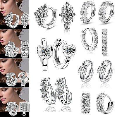 925 Sterling Silver Crystal Stud Round Earrings Wedding Jewelry Womens Gift 2019