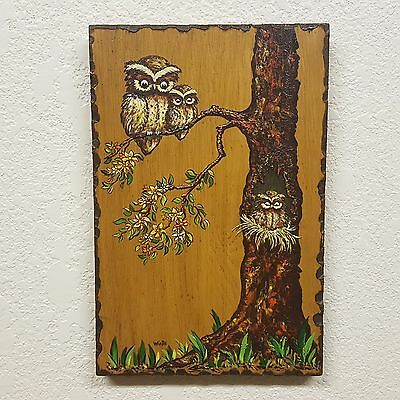 Vintage Hand Painted Wood Wall Hanging - Owls in Tree - Signed