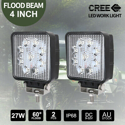 "2x 27W 4"" CREE LED Work Light FLOOD Off Road Truck Boat 12V24V Square Lamps"