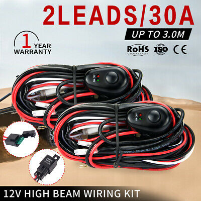Wiring Loom Harness Kit 2-Way Work Driving light bar 12V 40A LED HID Switch