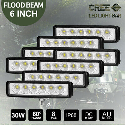 Pair 6 inch 30W LED Light Bar CREE Flood Work Offroad 4x4 4WD UTE Truck Fog Lamp