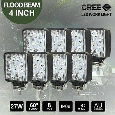8PCS 27W CREE LED Work Lights Bar Truck Boat 12V 24V Square FLOOD Lamps 4inch