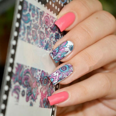 NAIL ART STICKER WATER TRANSFER STICKERS Blue FLOWER DECALS TIPS 3D DECORATION