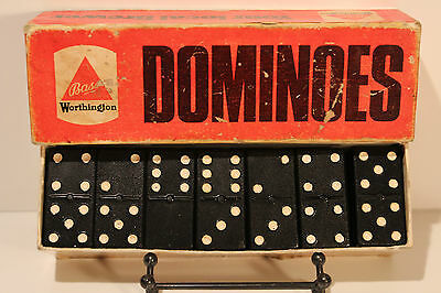 "VINTAGE RARE BLACK BAKELITE GAME DOMINOES""BASS""WORTHINGTON 1940-1950's"